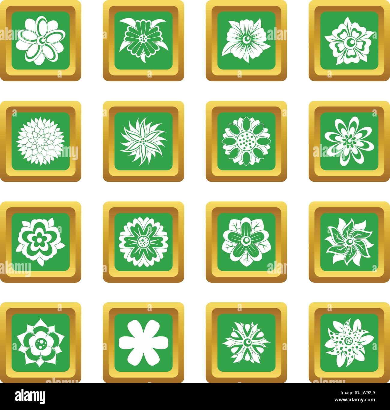 Different flowers icons set green - Stock Image