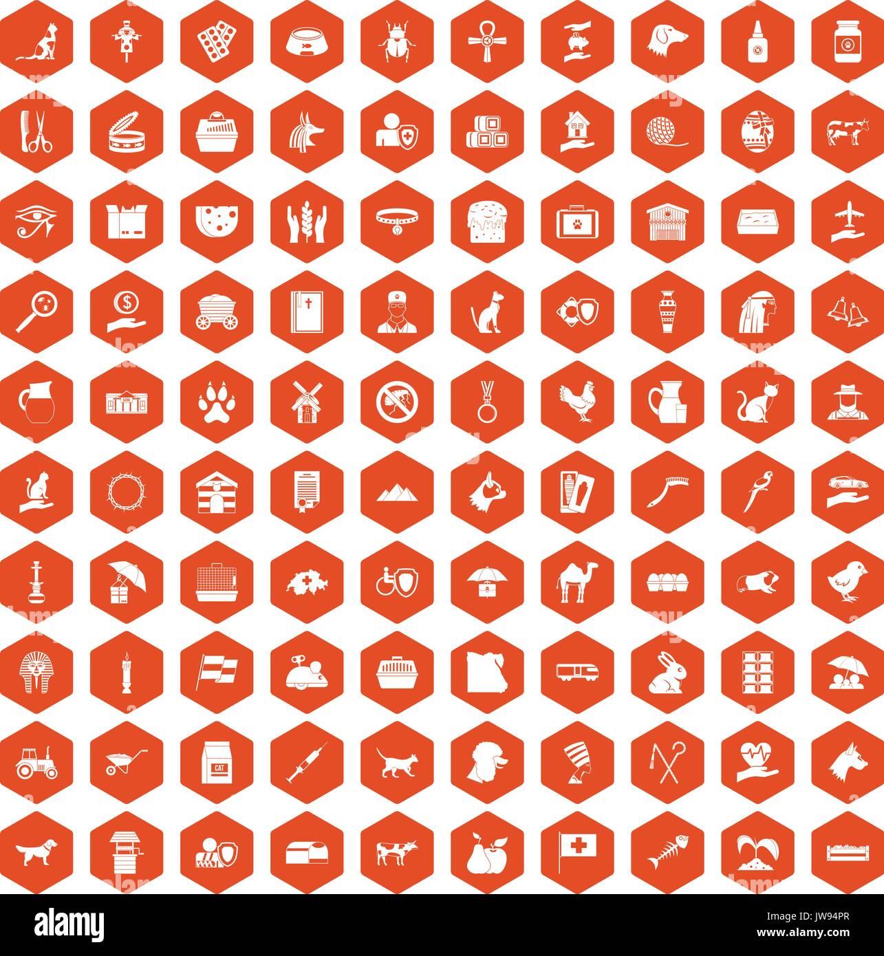 100 pets icons hexagon orange - Stock Image