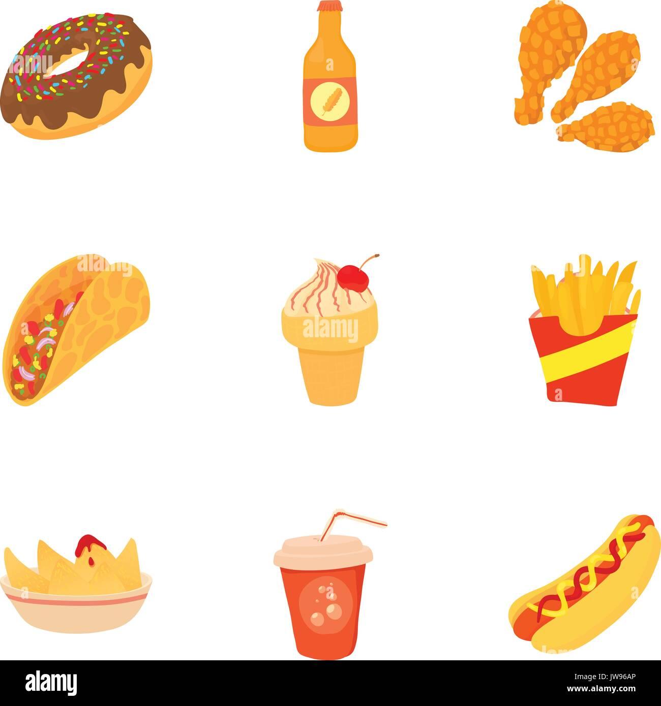 Tasty Fast Food Icons Set Cartoon Style Stock Vector Art