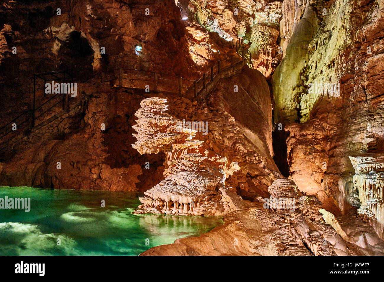 Europe, France, Occitanie, Lot,  Padirac cave,  the Padirac natural limestone chasm, this immense cave with its underground lakes and stalactites The cavern was first explored 120 years ago and is visited by tourists in boats - Stock Image