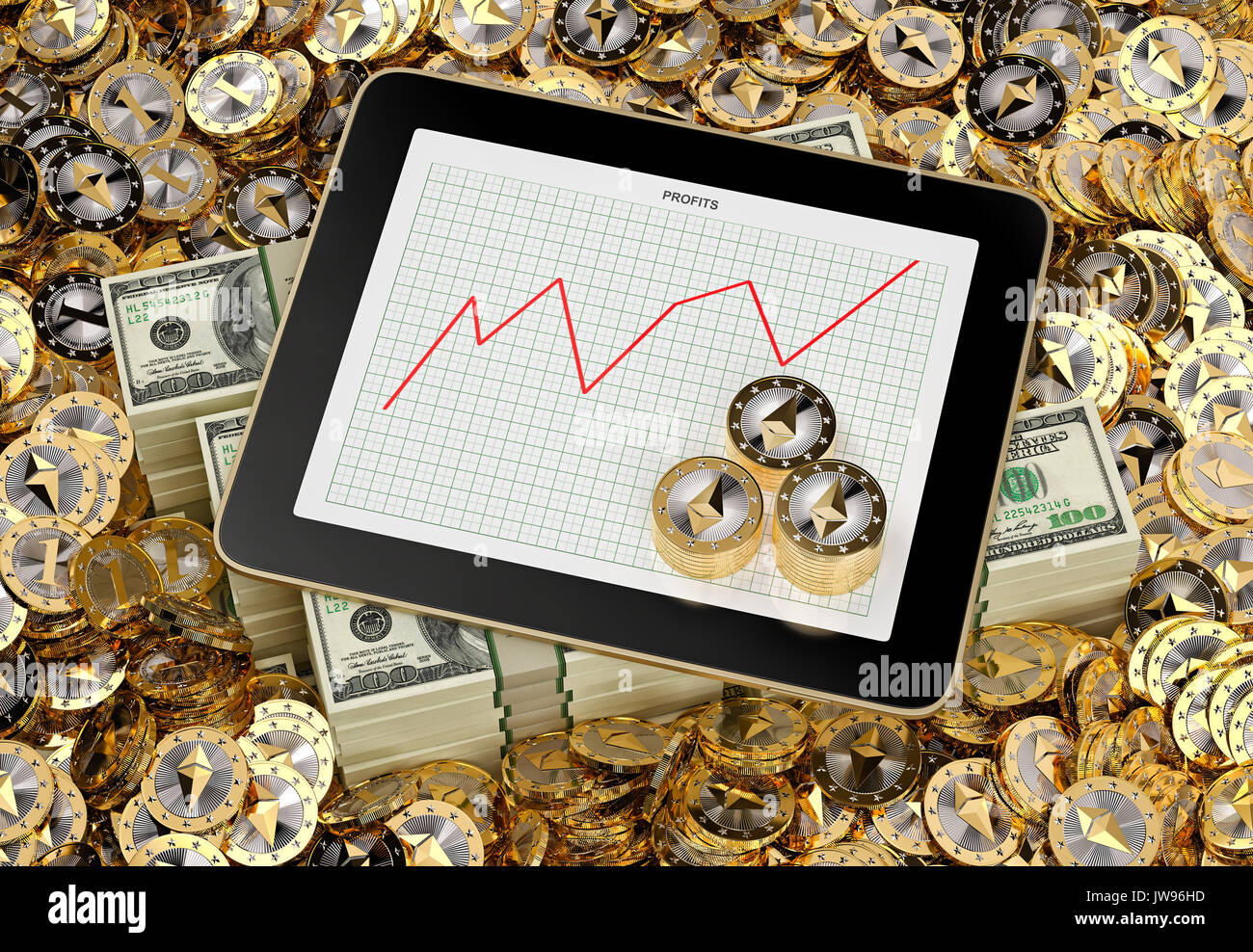 Lots of Ethereum Coins - Tablet showing graph of growing profits - 3D Rendering - Stock Image