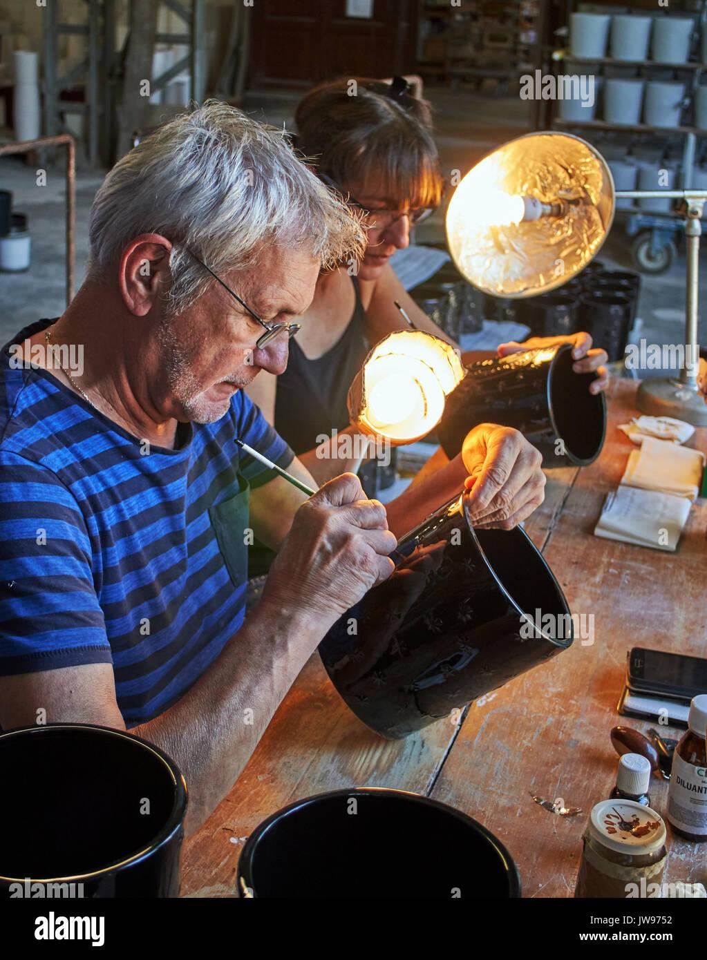 Europe, France, Occitanie, Lot, Puy l'Evêque city , Virebent Porcelain Manufactory - Stock Image