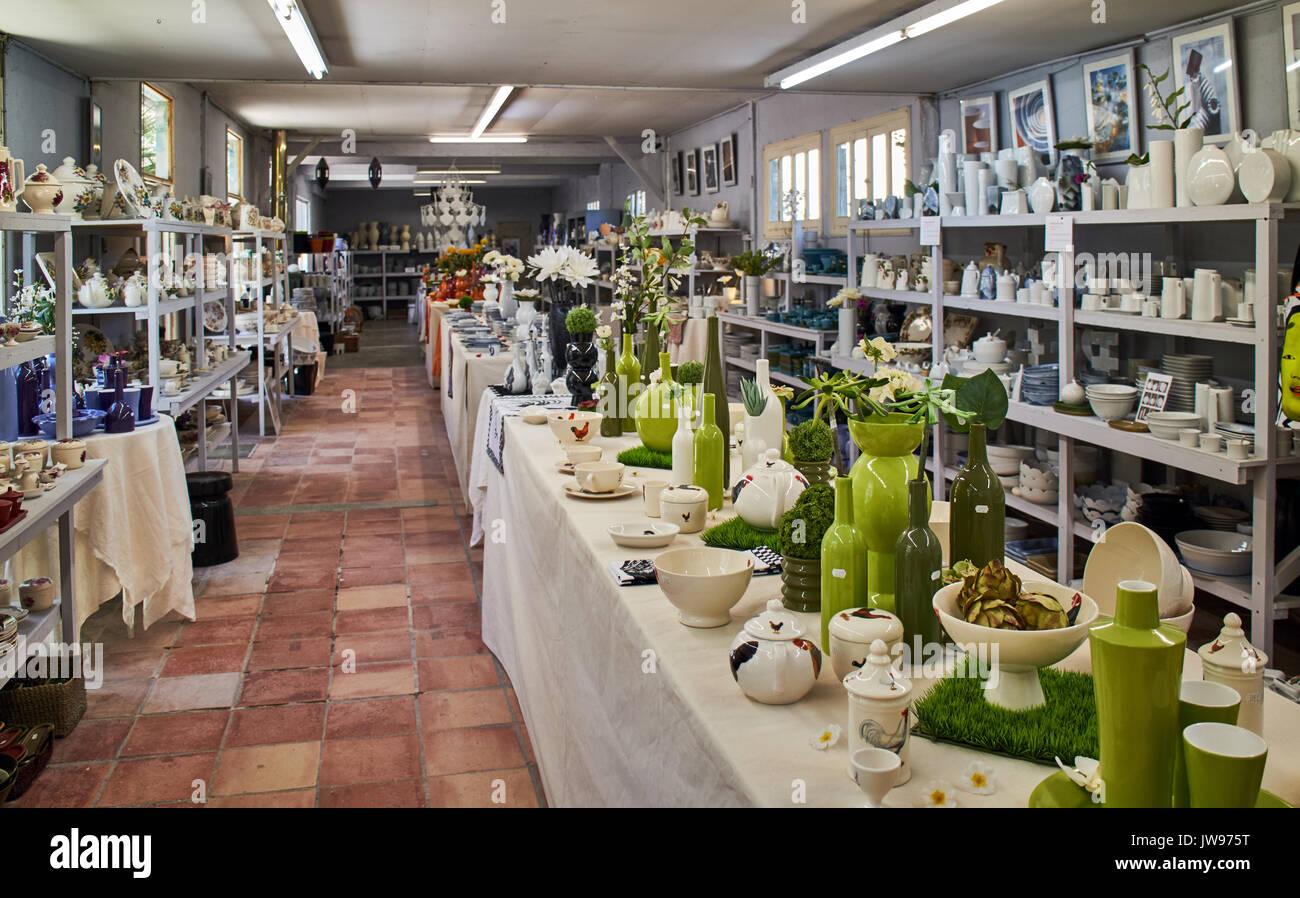 Europe, France, Occitanie, Lot, Puy l'Evêque city , Virebent Porcelain Manufactory, shop - Stock Image
