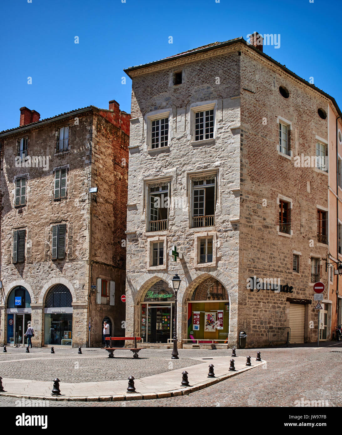 Europe, France, Occitanie, Lot, Cahors city, the old city, timber framed and brick buildings and outdoor shop in Stock Photo