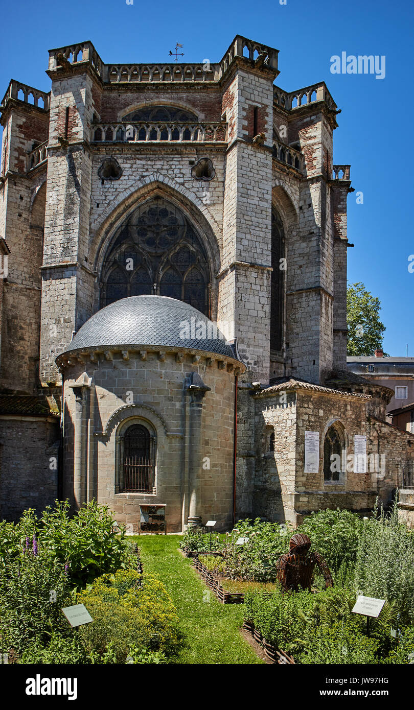 Europe, France, Occitanie, Lot, Cahors city, the old city, Medicine Garden,  the way of St James, the Jardins Secrets Stock Photo