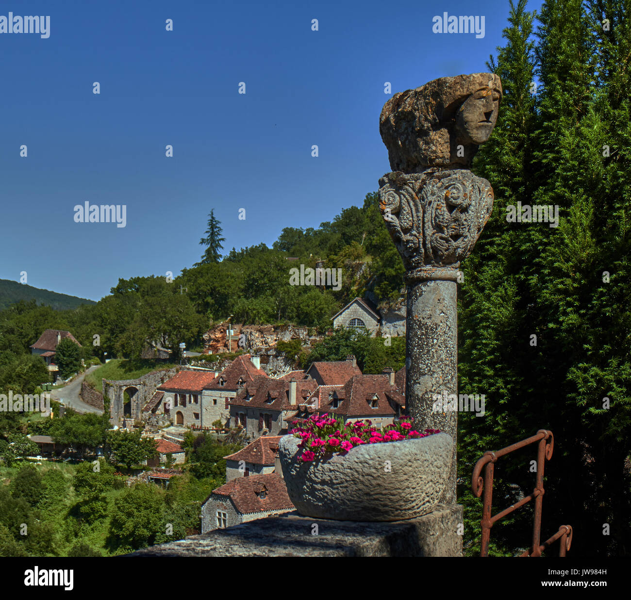 Europe, France, Occitanie, Lot, St-Cirq-Lapopie village along the river Lot, This medieval village, elected favorite Stock Photo