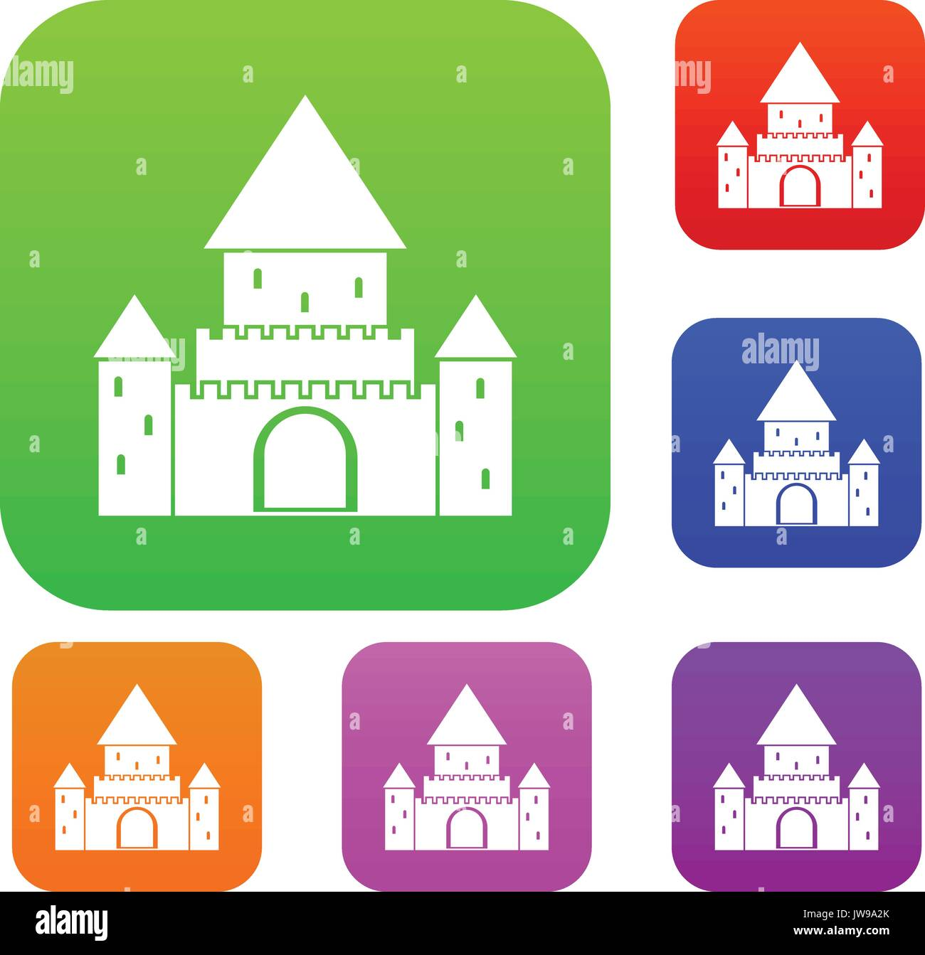 Chillon Castle, Switzerland set collection - Stock Vector