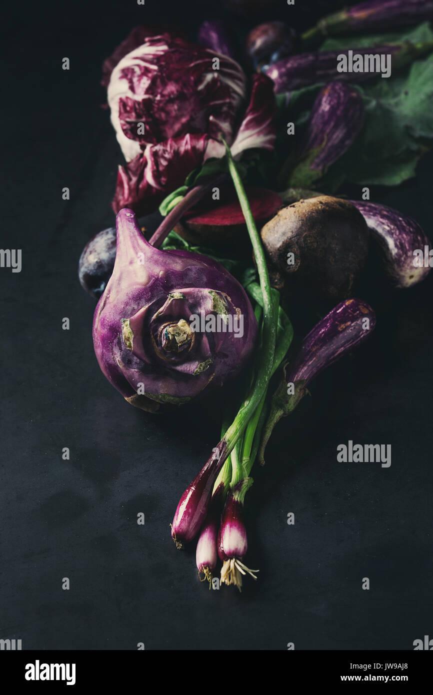 Assortment of purple vegetables Stock Photo