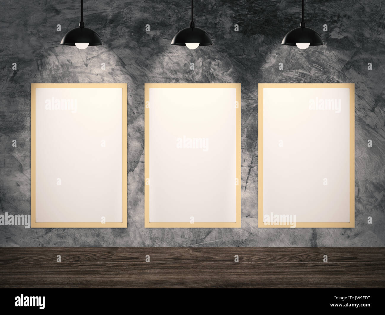 Three Blank Frames Hanging On Cement Wall Stock Photo 153258276 Alamy