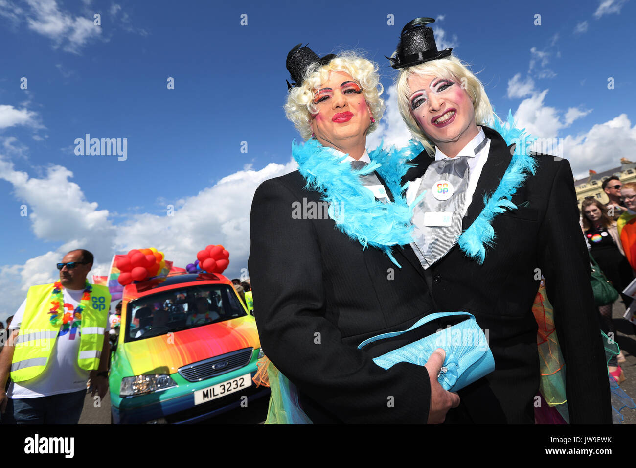 Participants take part in the annual Brighton Pride Parade at the seaside town, UK, Saturday August 5, 2017.  2017 marks the 50th anniversary of the d - Stock Image