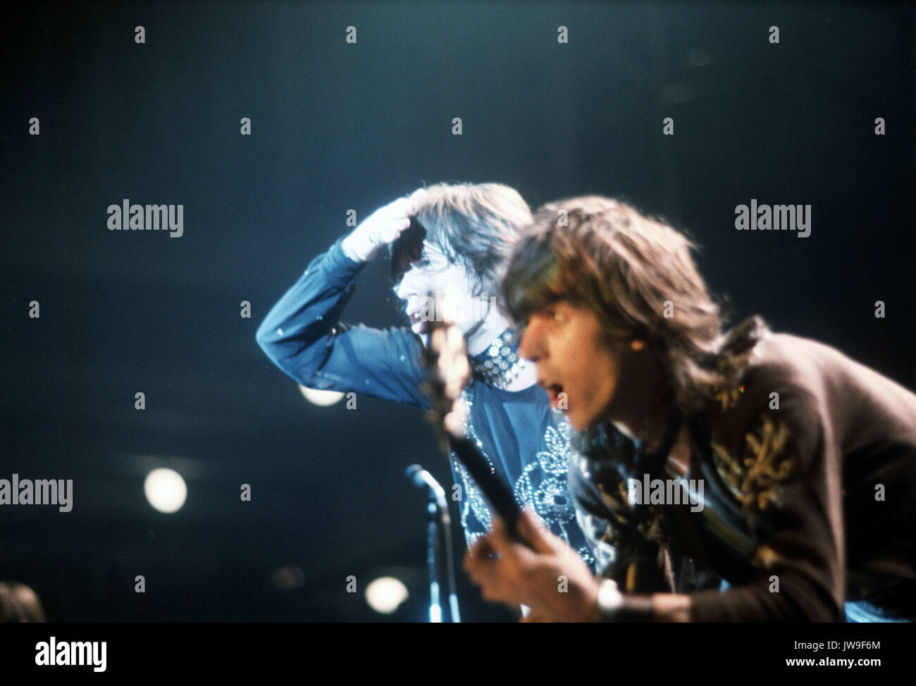 Mick Jagger and Keith Richards. The Rollings Stones on stage in Hamburg (Germany) in September 1970.   usage worldwide - Stock Image