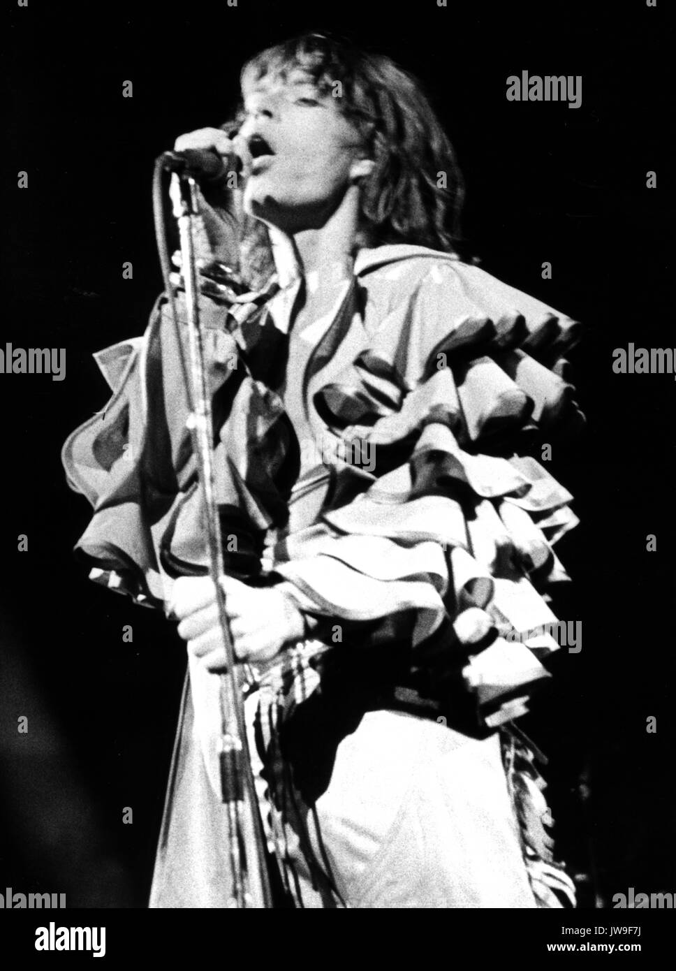 Mick Jagger on stage. The Rolling Stones on 28 April 1976 at the Festhalle in Frankfurt (Germany). | usage worldwide Stock Photo