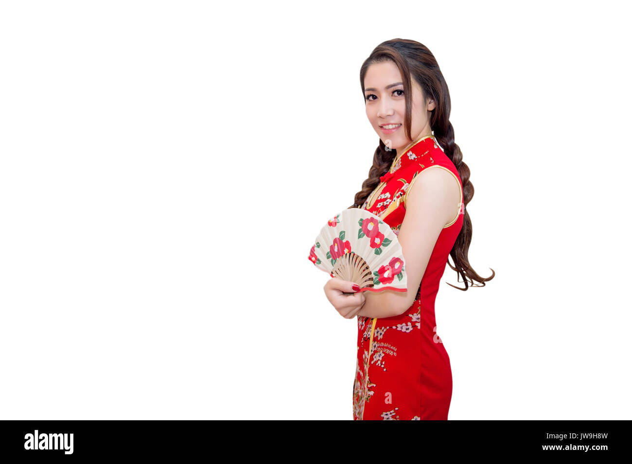 cb1463093 Beautiful young asian woman wearing Chinese traditional dress cheongsam or  qipao isolated on white background.