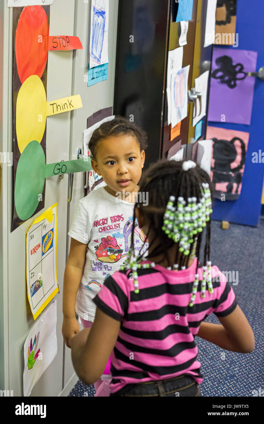 Charlotte, North Carolina - Children in Head Start at the Bethlehem Center use a conflict resolution procedure called - Stock Image