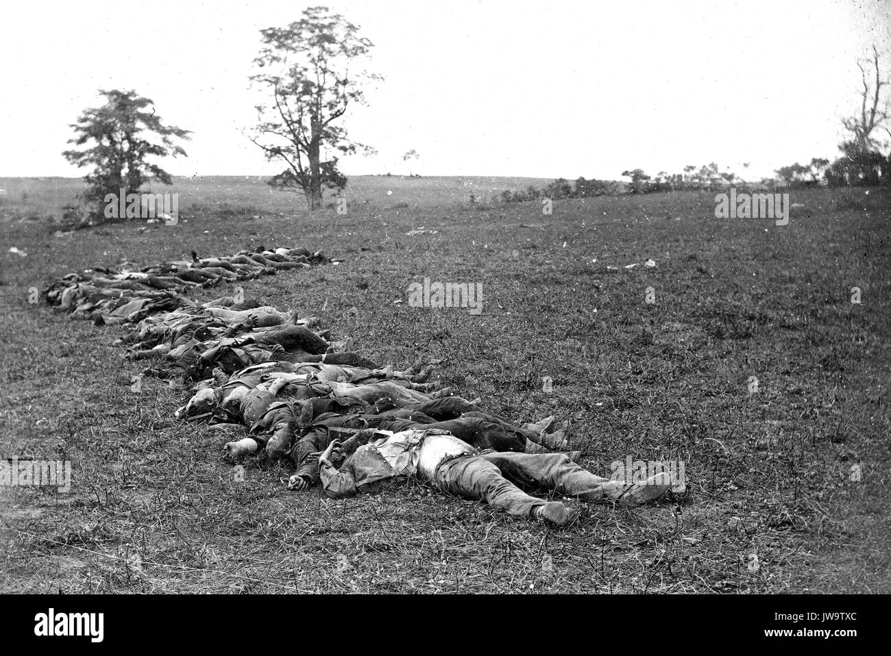 BATTLE OF ANTIETAM 17 September 1862. Confederate dead awaiting burial. Photo: Alexander Gardner - Stock Image