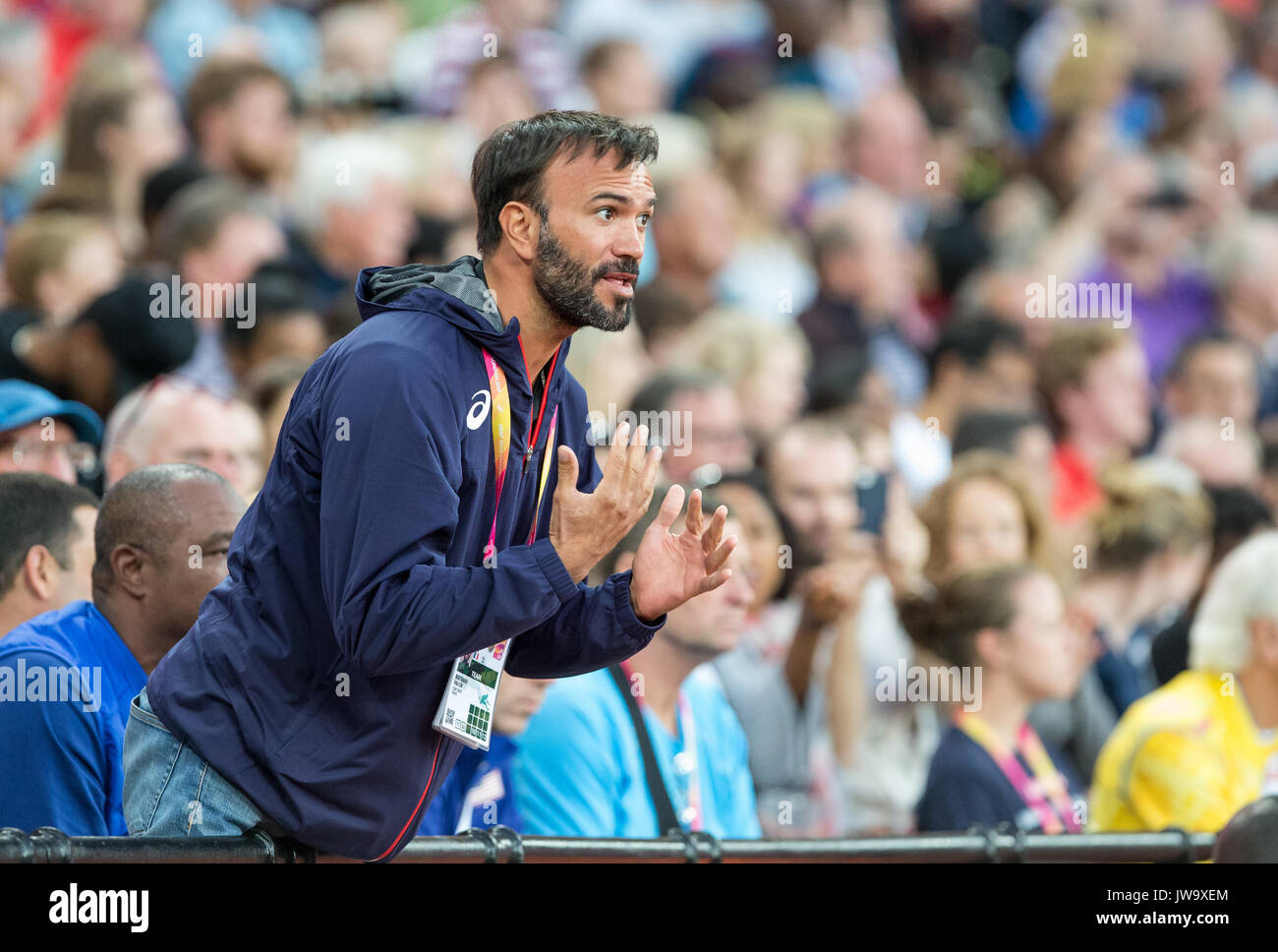 Bertrand VALCIN coach of Katarina JOHNSON-THOMPSON of GBR during the IAAF World Athletics Championships 2017 - Day 7 at the Olympic Park, London, Engl - Stock Image