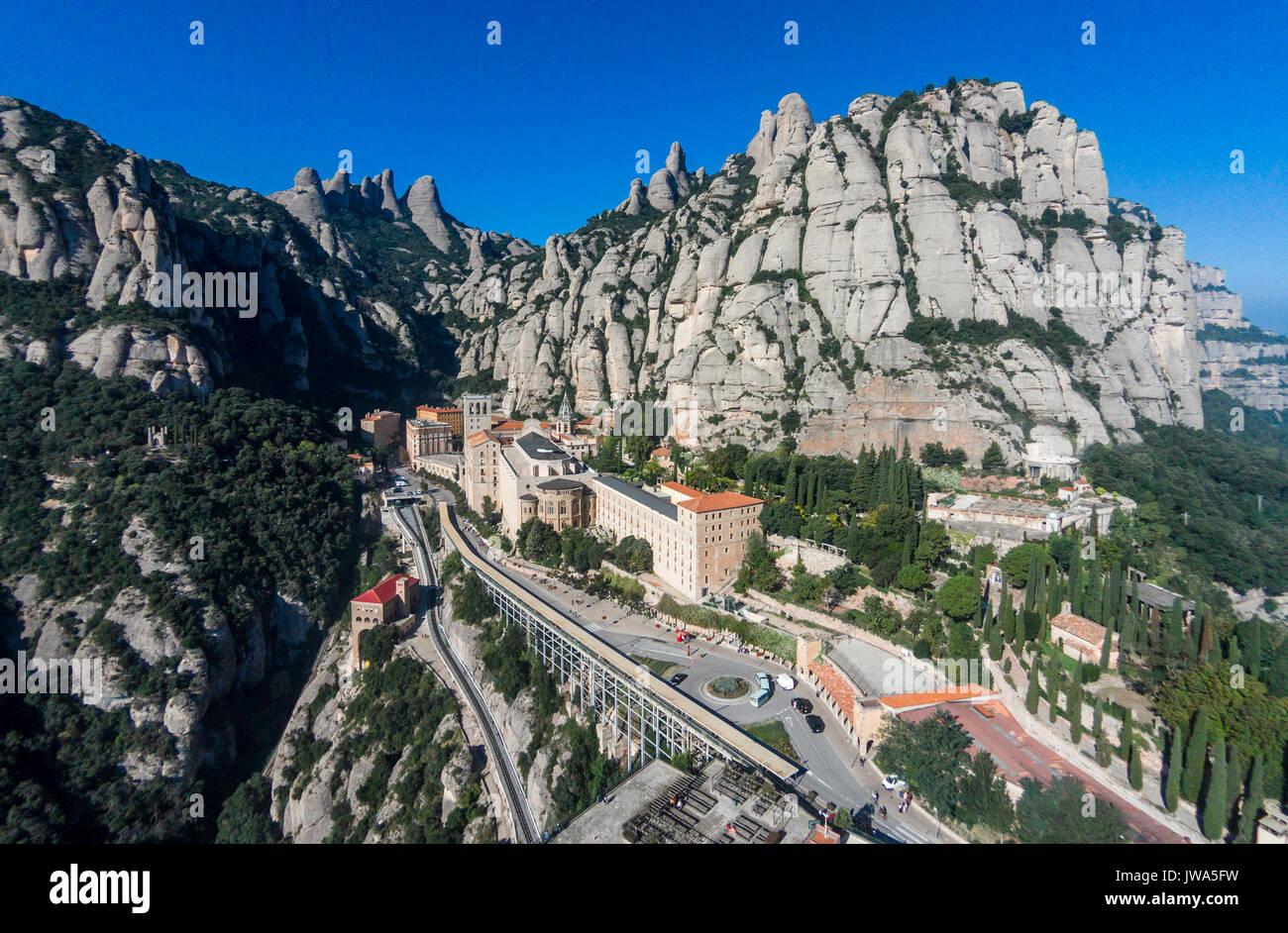 Aerial view of Santa Maria de Montserrat Abbey Stock Photo