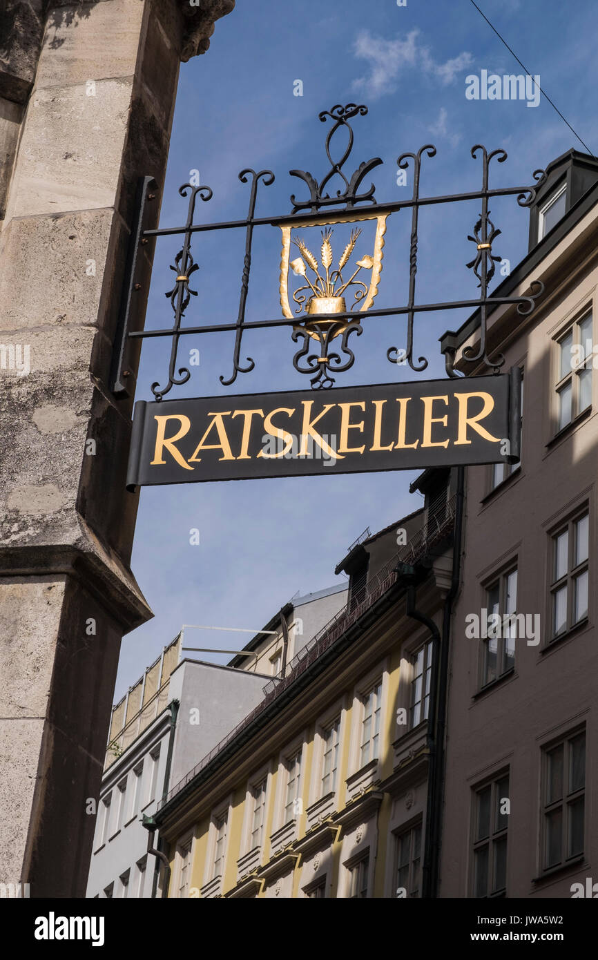 Ratskeller sign, beer celler under the rathaus, town hall, Munich, Germany - Stock Image