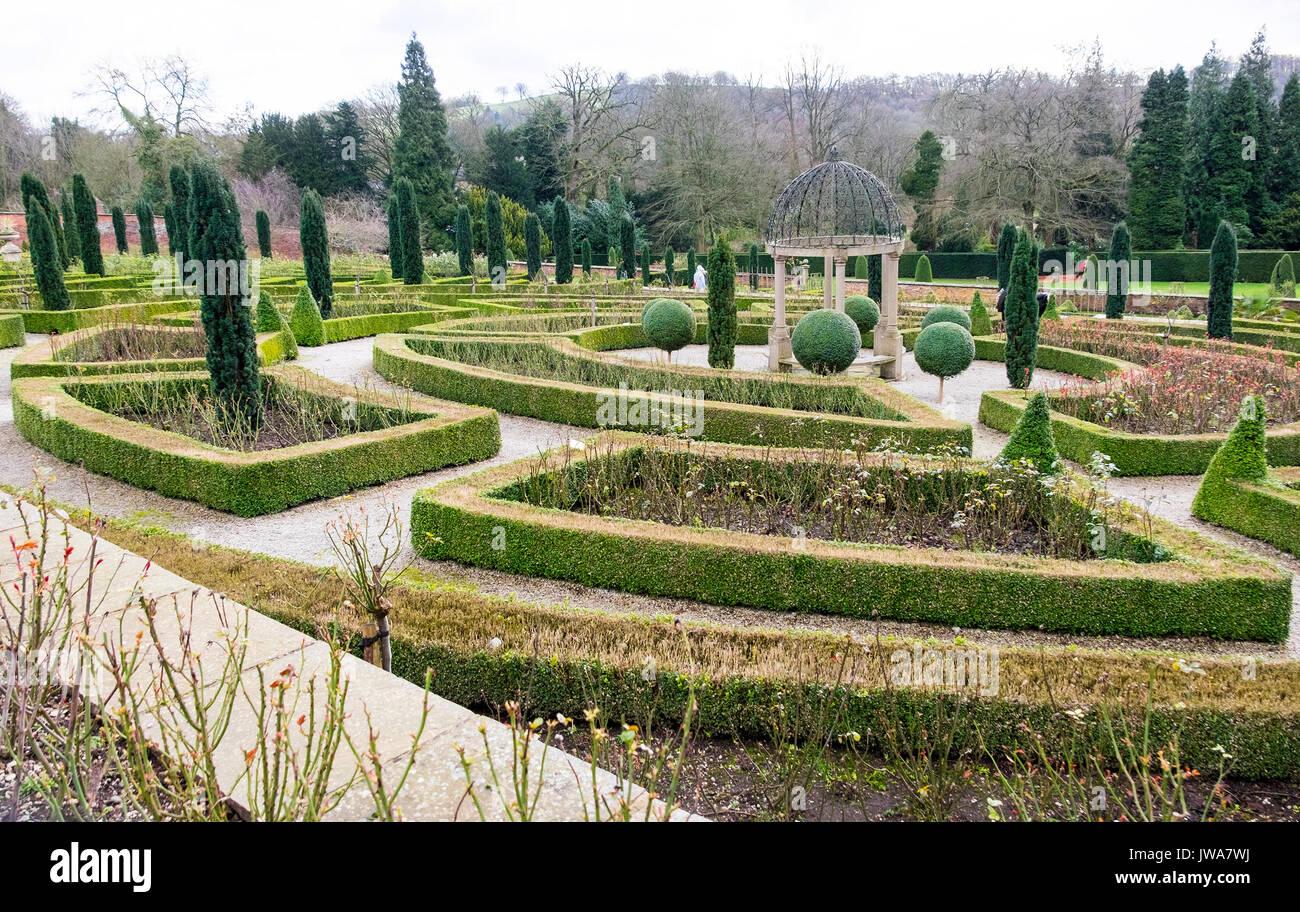 The gardens at Hopton Hall and Gardens, Hopton, near Carsington, Derbyshire, England, UK - Stock Image