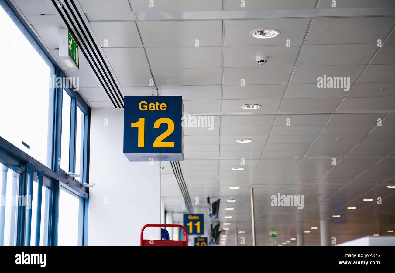 Airport Gate 12 Sign - Stock Image