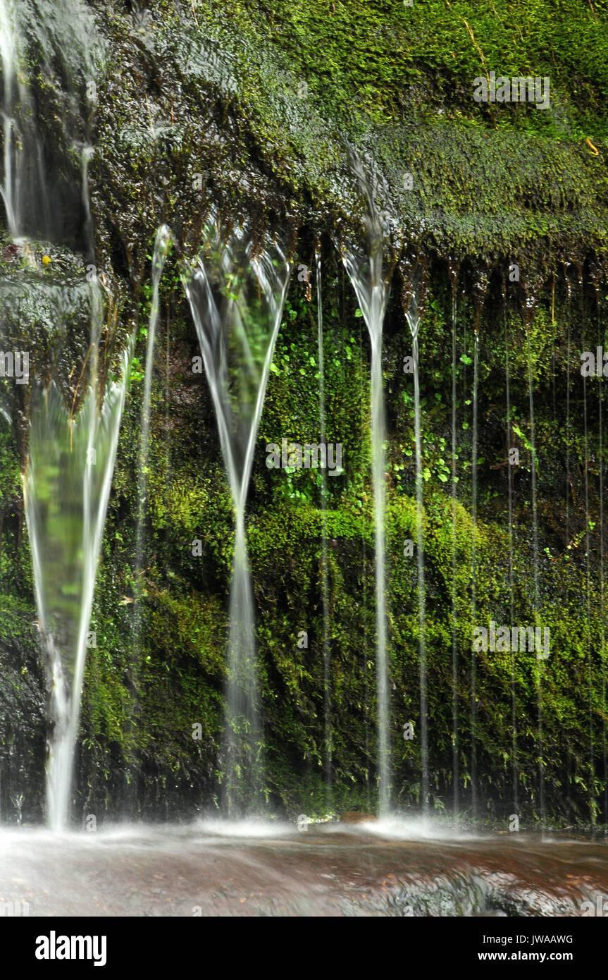 Main waterfall on Afon Caerfanell. - Stock Image