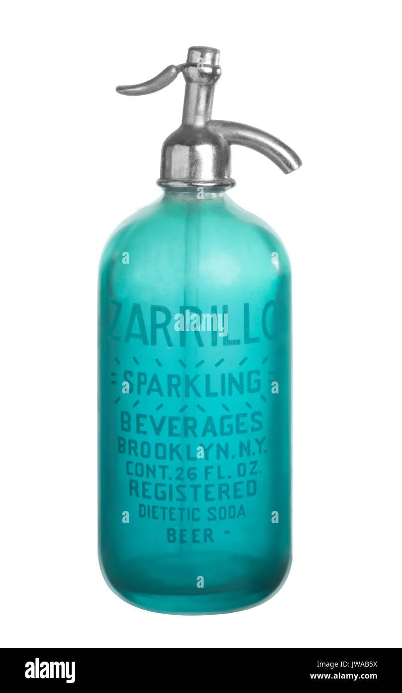 Antique Blue Seltzer Bottle - Stock Image