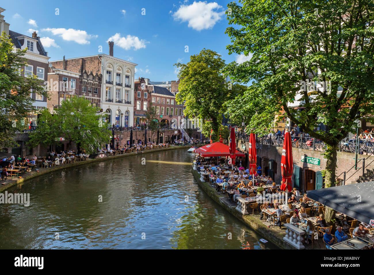 Restaurant alongside the Oudegracht (Old Canal), Utrecht, Netherlands Stock Photo