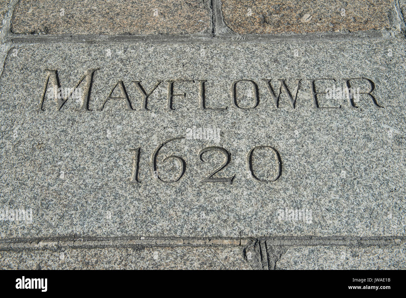 Copyrighted Image by Paul Slater/PSI Mayflower Steps, 1620, Barbican, Plymouth - Pilgrim Fathers - Stock Image