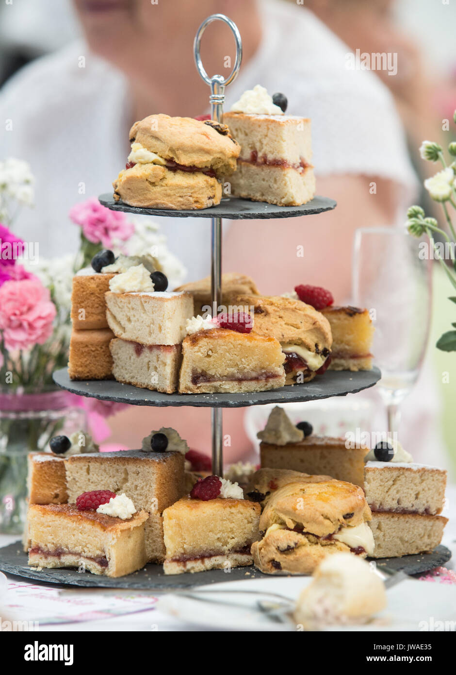 Copyrighted Image by Paul Slater/PSI Generic shot of cakes on a cake stand - Stock Image
