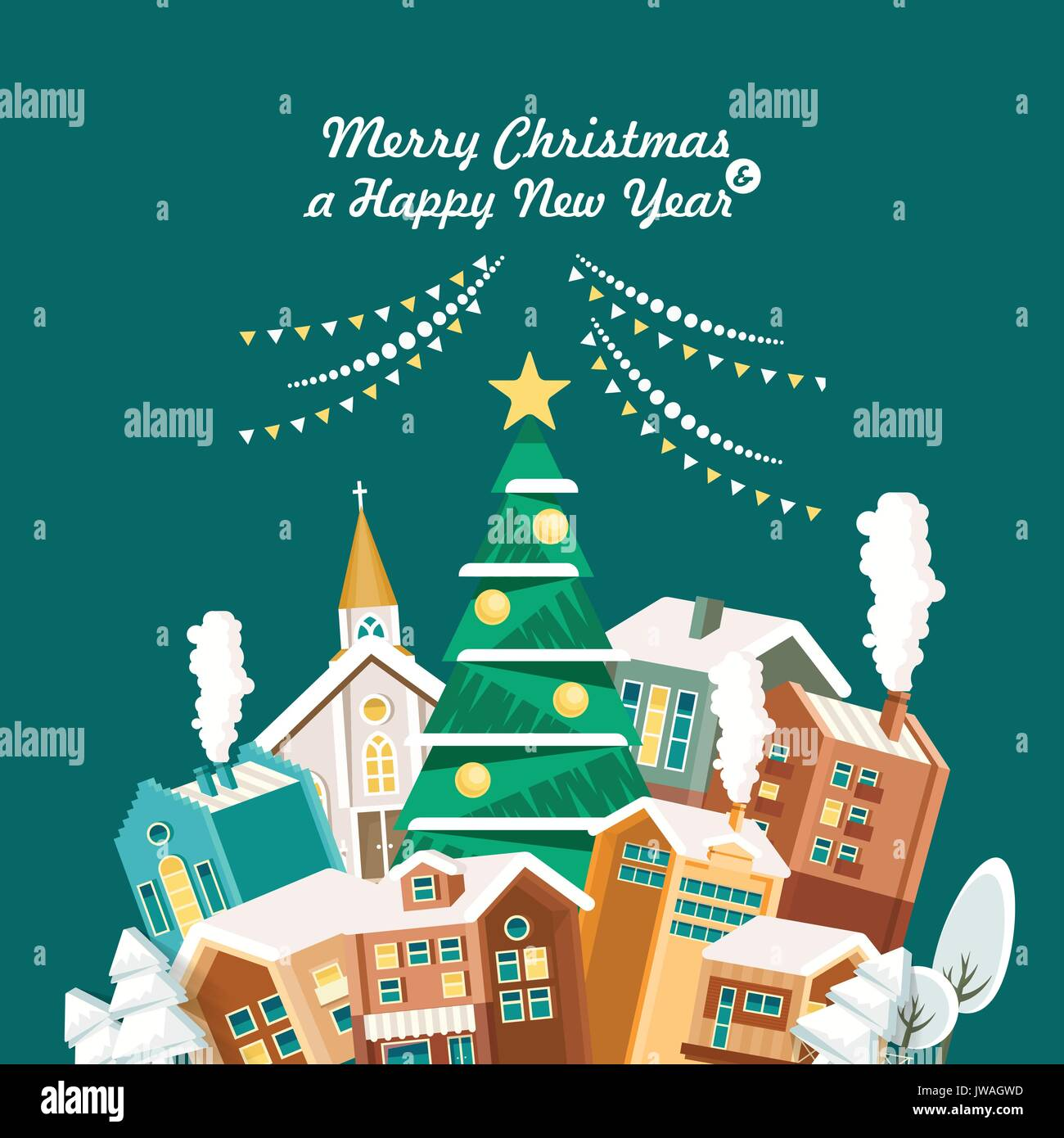 Merry christmas and a happy new year vector greeting card in modern merry christmas and a happy new year vector greeting card in modern flat design christmas town snowy landscape m4hsunfo
