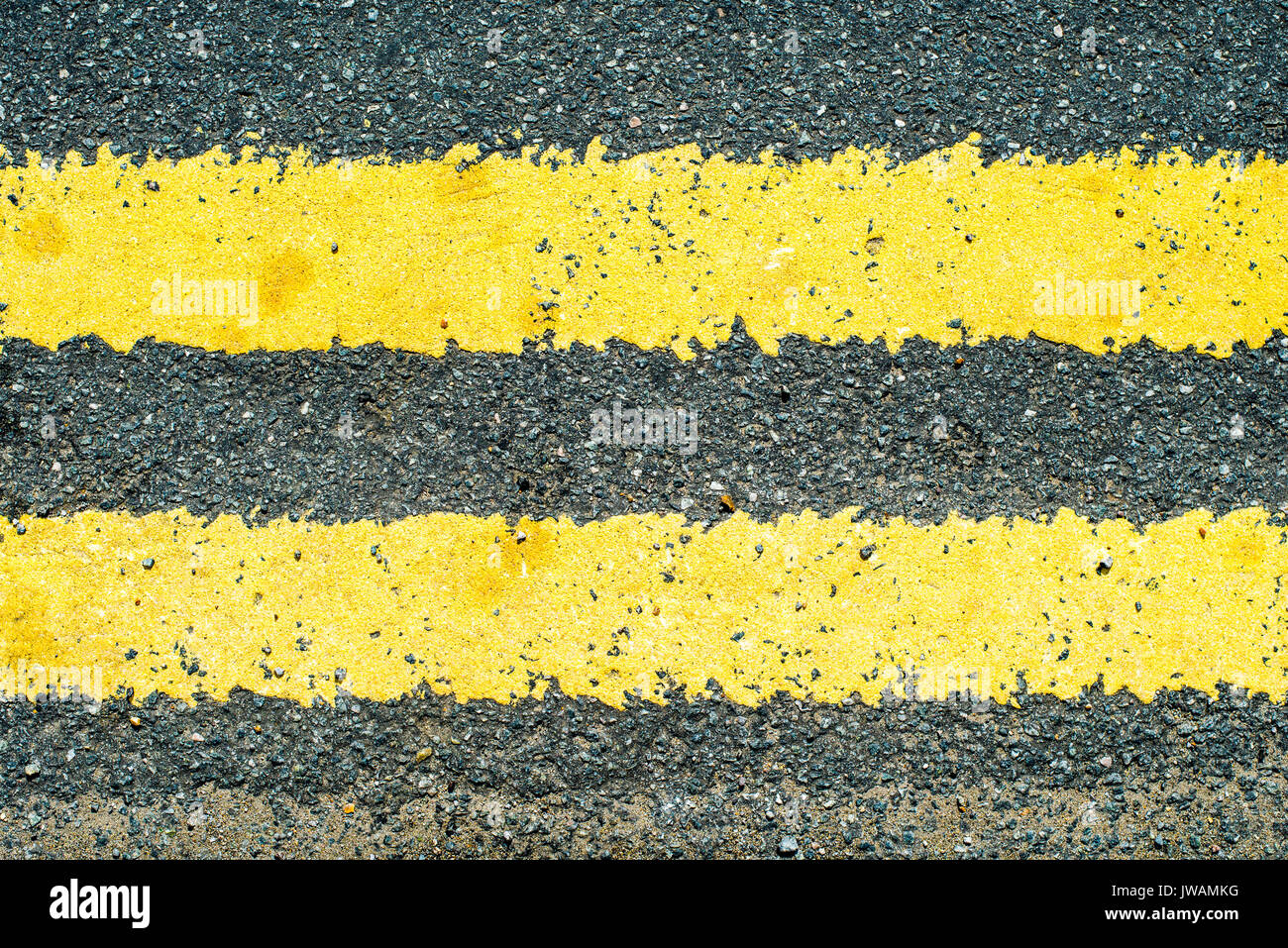 No Parking Double Yellow Lines Road Markings - Stock Image