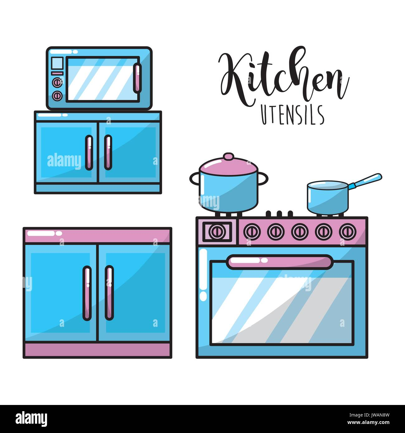 kitchen utensils traditional object element Stock Vector Art ...
