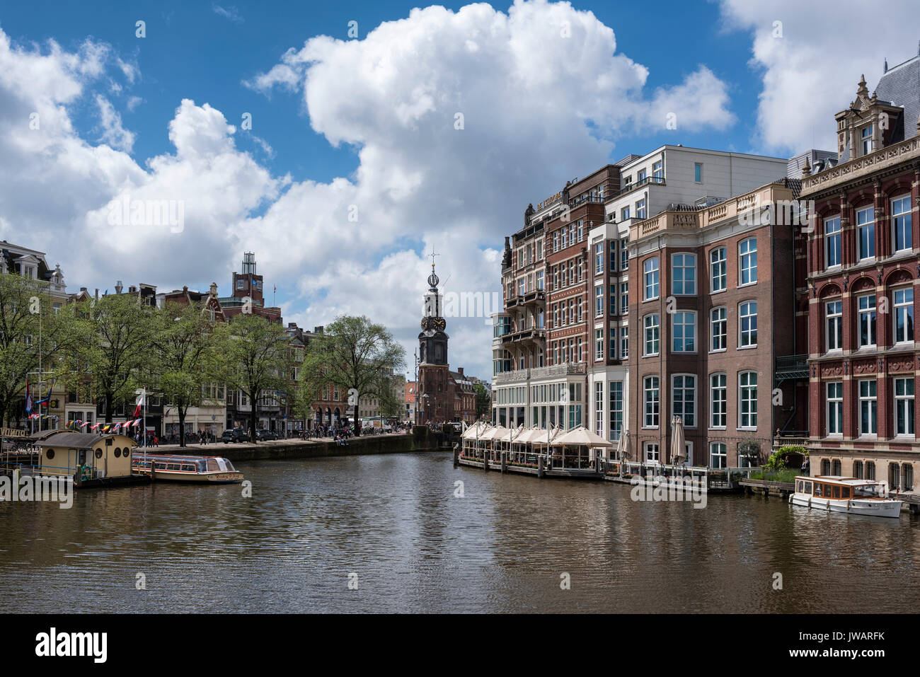 View over the Amstel to Munttoren, Amsterdam, North Holland, Netherlands - Stock Image
