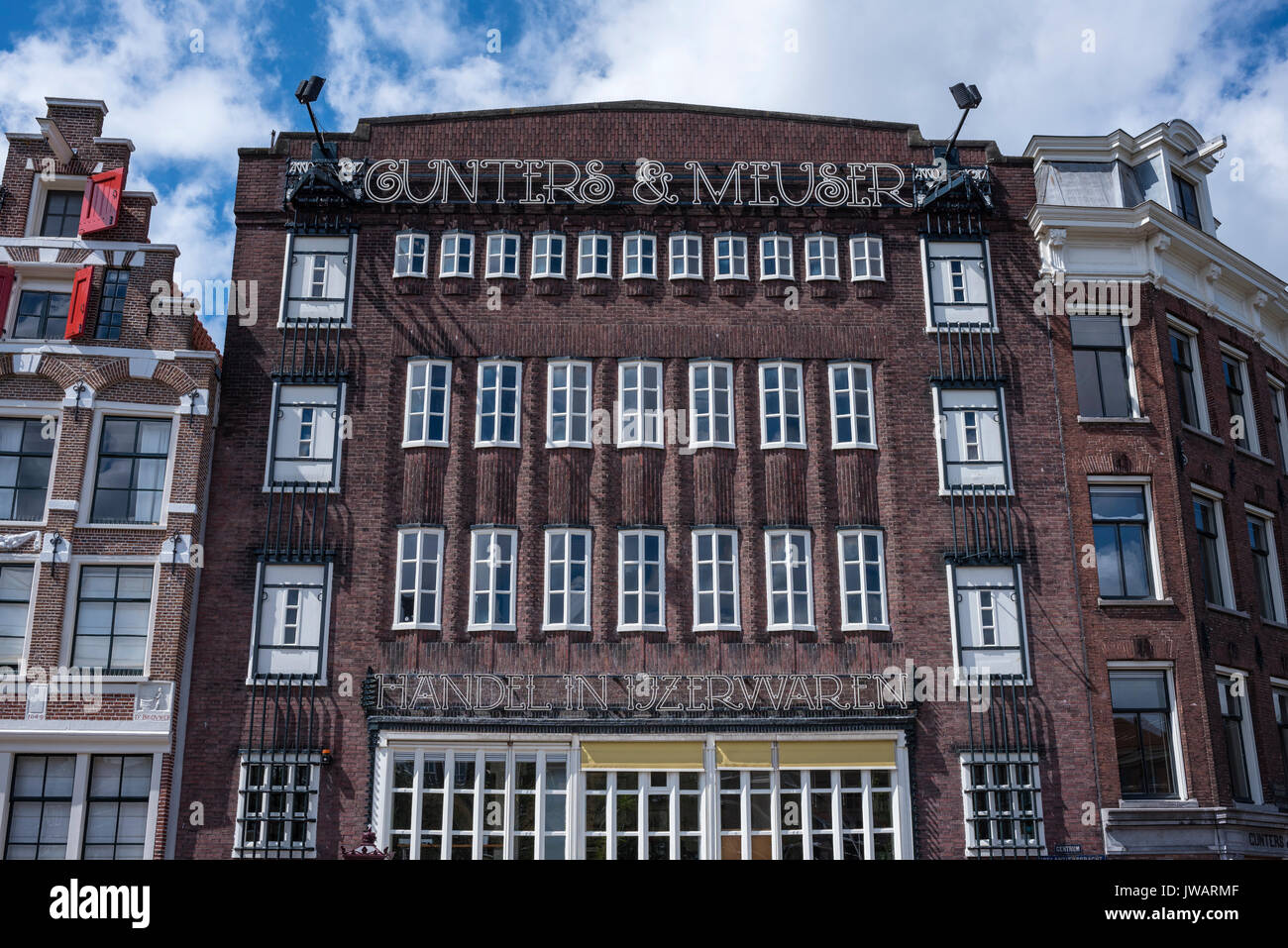 Historic canal house at Prinsengracht, Amsterdam, North Holland, Netherlands - Stock Image