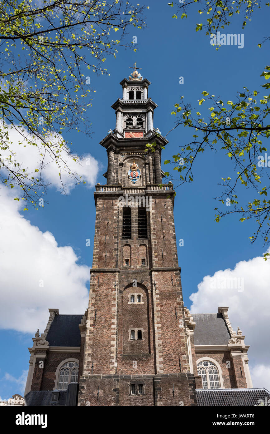The bell tower of the Westerkerk, Amsterdam, North Holland, Netherlands Stock Photo