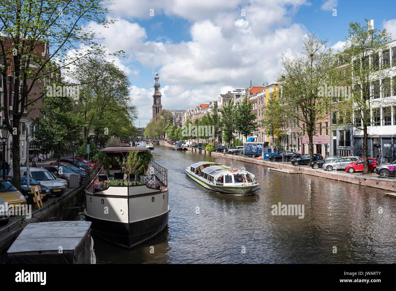 The Prinsengracht with the Westerkerk, Amsterdam, North Holland, Netherlands - Stock Image