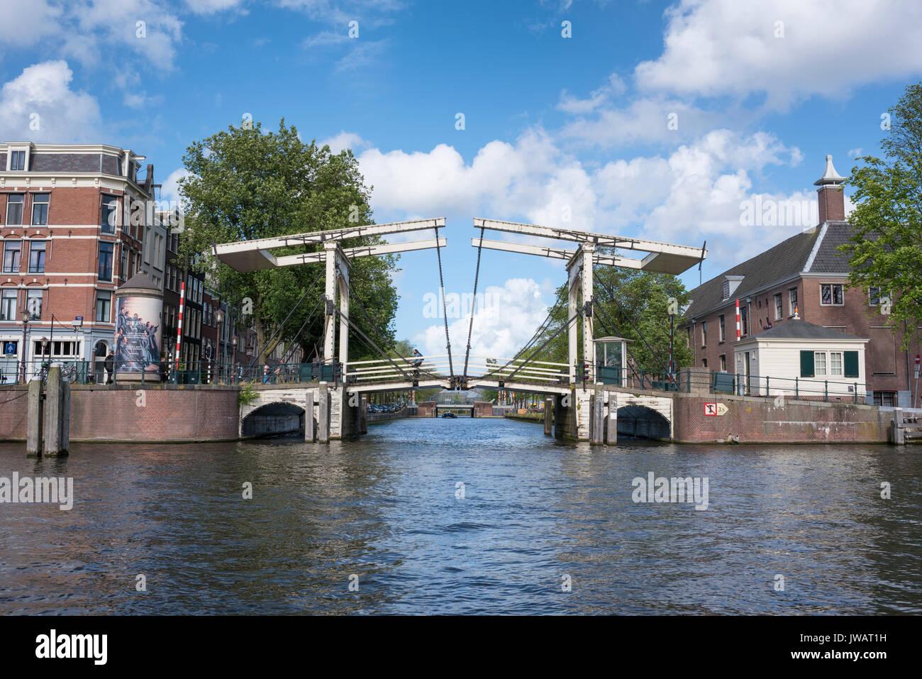 Bascule bridge, called Walter Suskindbrug on the Amstel, Amsterdam, North Holland, Netherlands - Stock Image