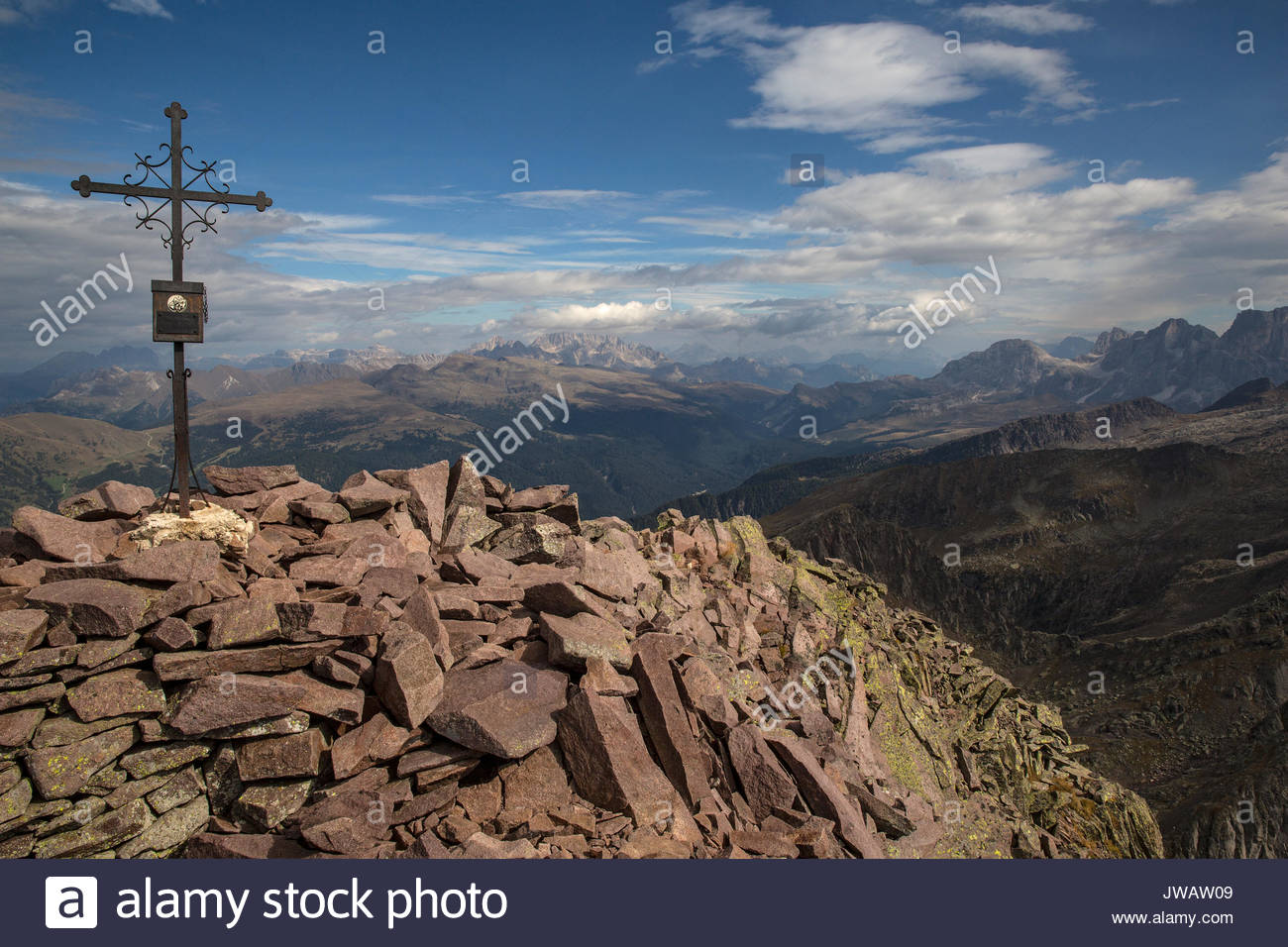 A view of Marmolada from the Cima di Cece with remains of the frontline of World War I. - Stock Image