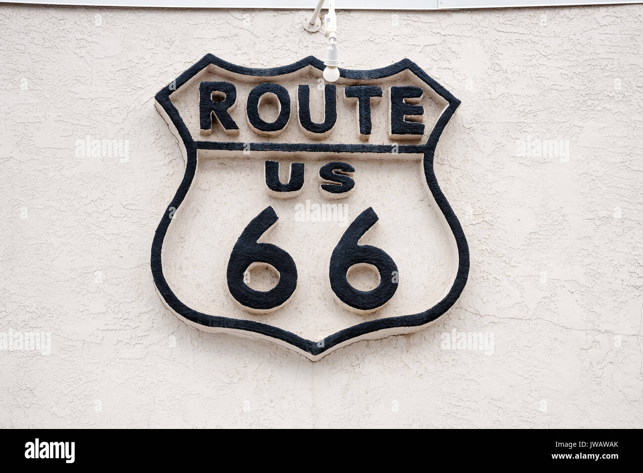 Sign on the wall of legendary road,  City of Williams, Arizona, USA - Stock Image