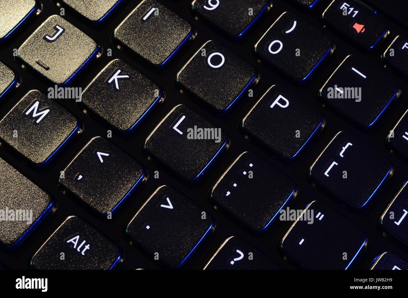 Angled view of close up of black laptop key pad with white letters, figures and symbols. Light coming from top left side. - Stock Image