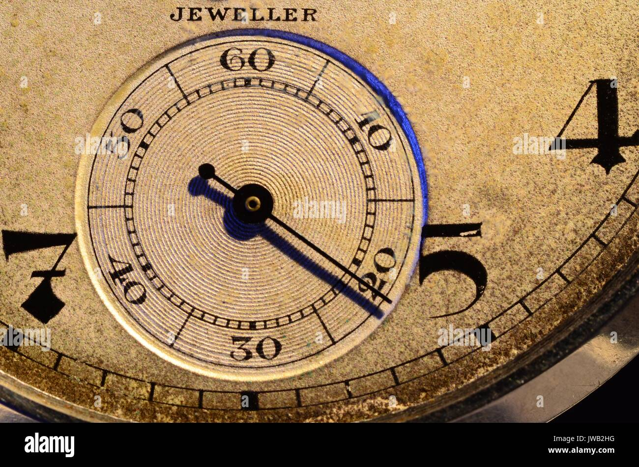 Time - second hand. Close up of second hand of old analogue pocket watch. Face is patterned brownish. Second hand , markings and figures are black. - Stock Image