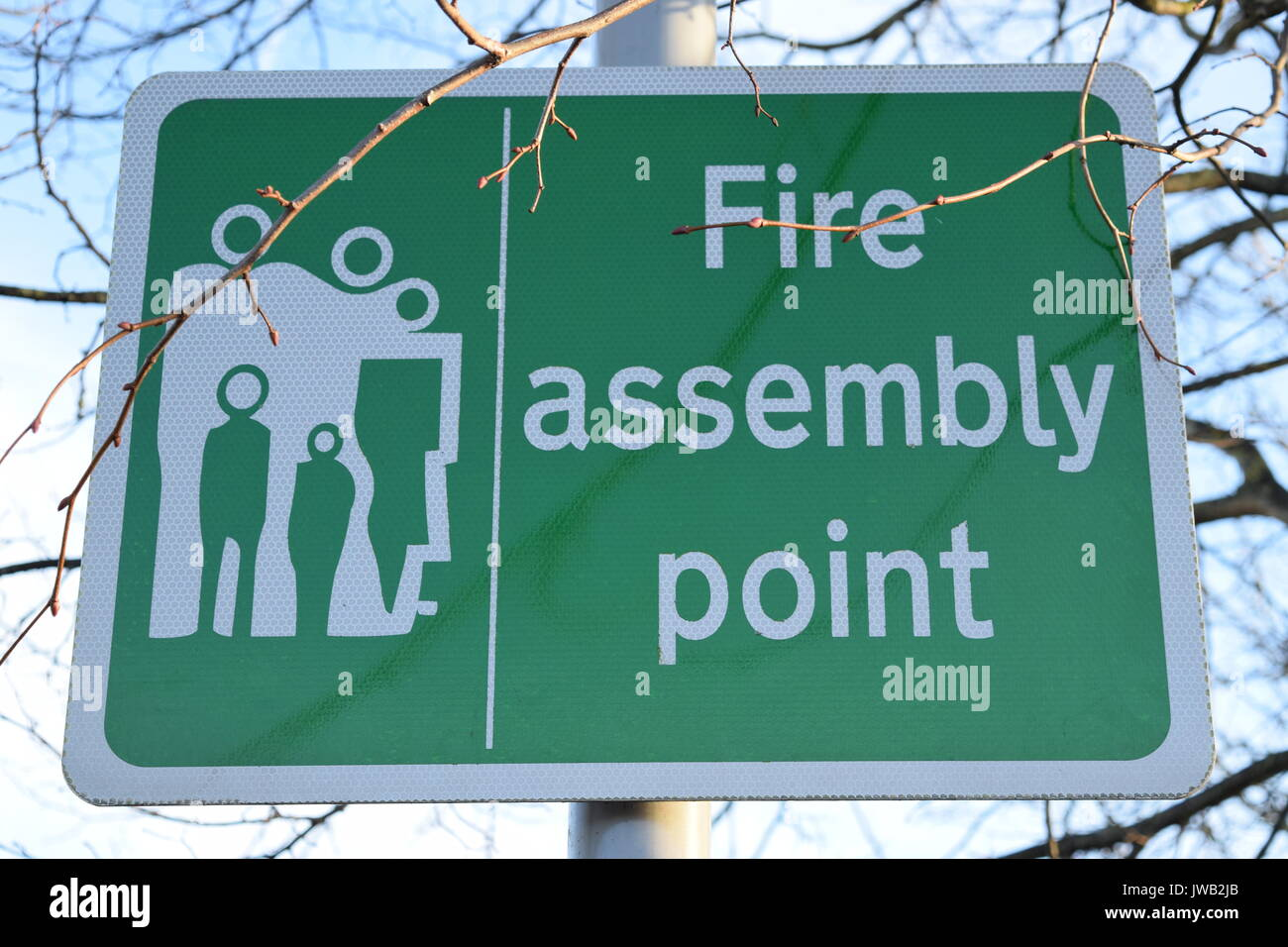 Fire assembly point sign - Stock Image