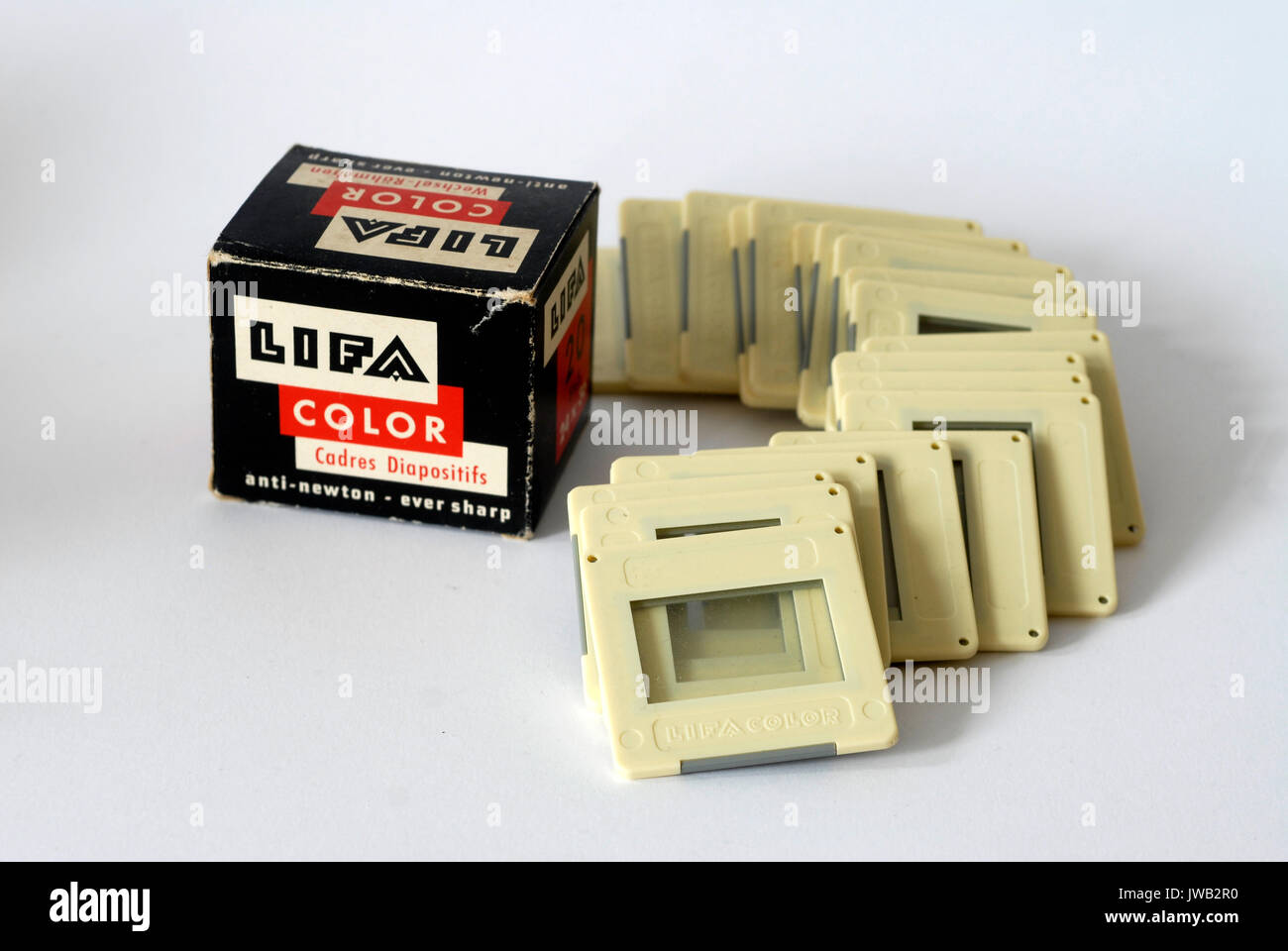 Vintage box of frames for slides, Lifa, Made in Germany - Stock Image