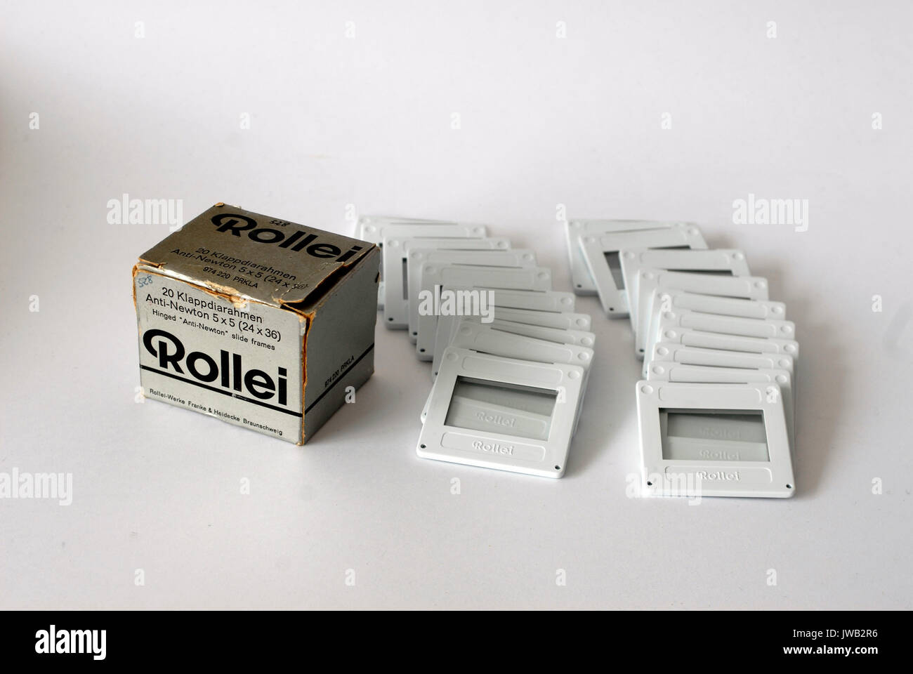 Vintage box of frames for slides, Rollei Brand Stock Photo ...