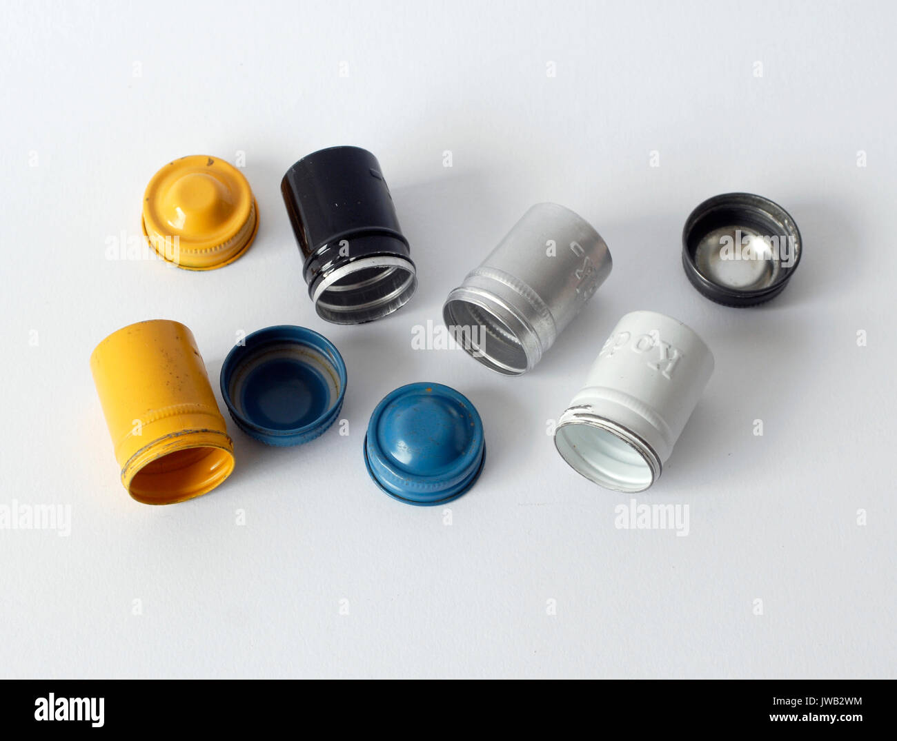 Antiques cans for Kodak film 35 mm. Originals from the fifties, in different colors - Stock Image