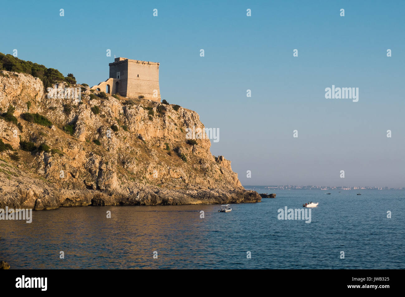 Ancient coastal watchtower in Puglia (Italy). Stock Photo
