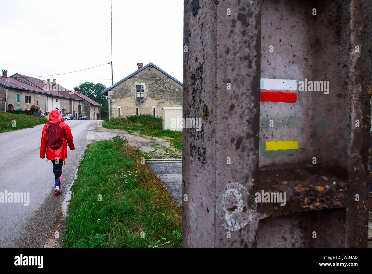 Hiking in Jura country, Les Bez, Franche-Comté, Jura (France) - Stock Image