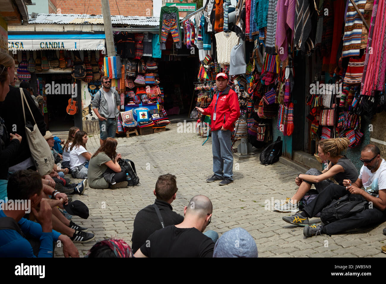 Red Cap walking tour, Witches Market, La Paz, Bolivia, South America - Stock Image