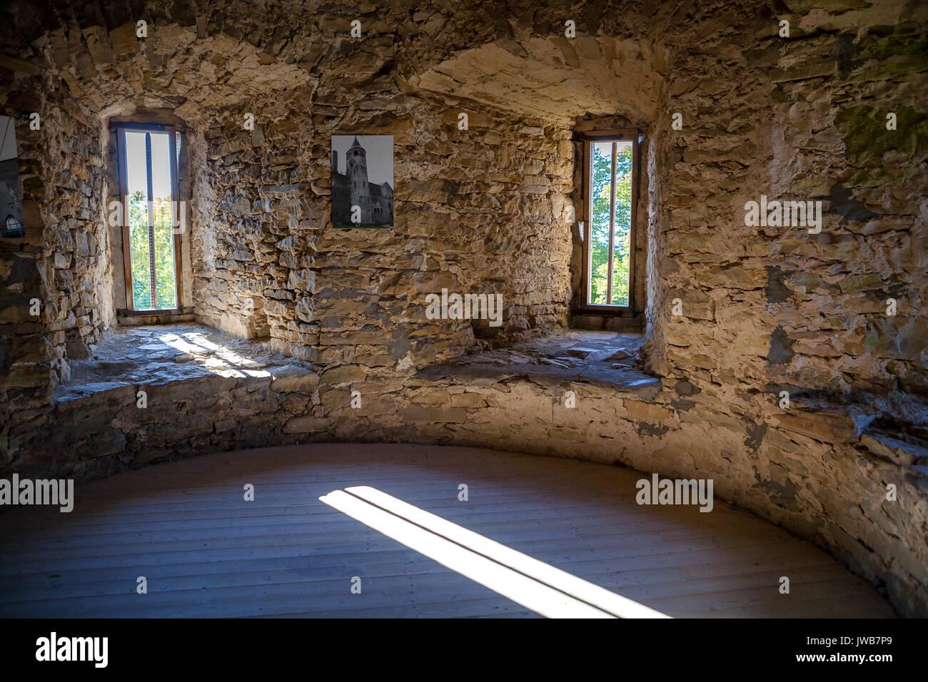 interior of castle tower with bright windows haapsalu bishop castle estonia stock image