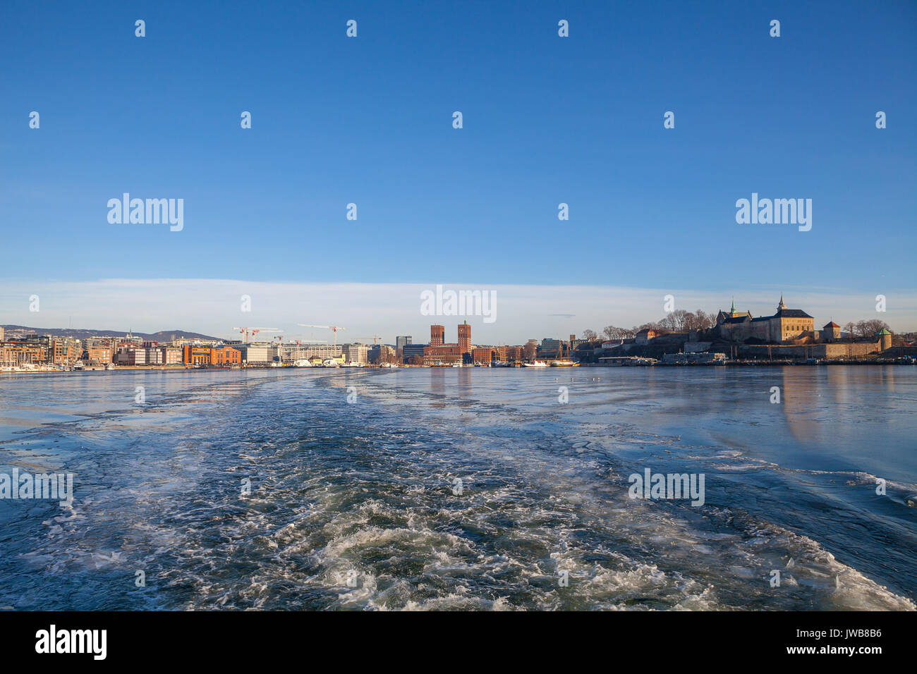 View on Oslo fortress and the harbor. Stock Photo